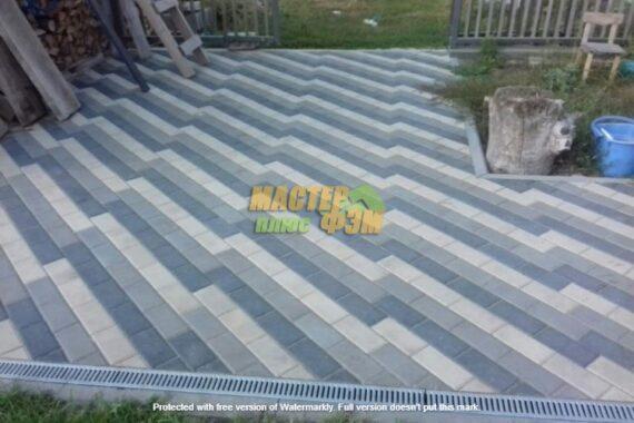 Укладка тротуарной плитки кирпич без фаски в Дмитровке
